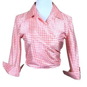 Linda Allard Ellen Tracy Silk Wrap Top Size 4 Pink